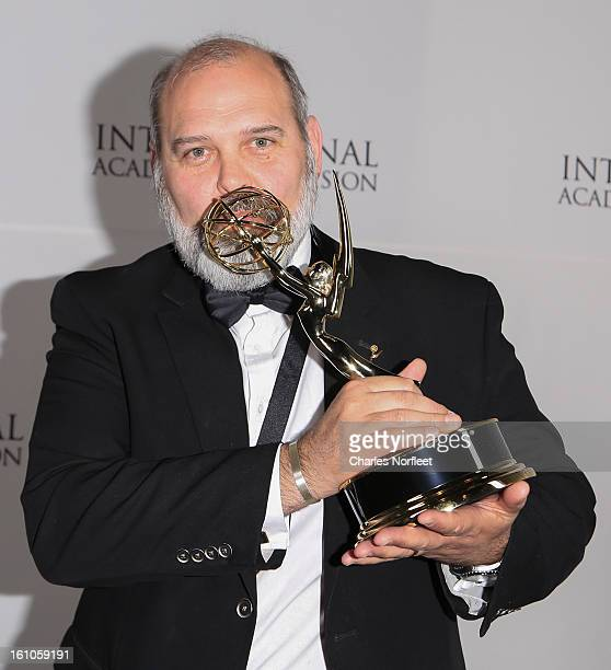 Executive Producer Michael Carrington with the Kid Animation Emmy Award for The Amazing World Of Gumball attends The Inaugural International Emmy...