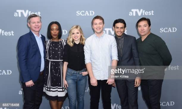 Executive producer Michael McDonald and actors Mickaelle X Bizet Ana MulvoyTen Connor Jessup Richard Cabral and Benito Martinez attend a press junket...