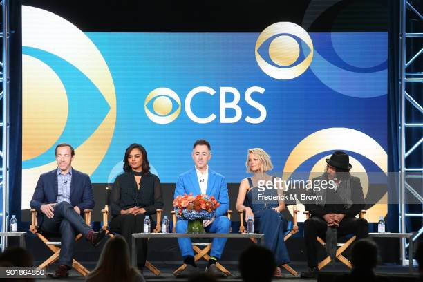 Executive producer Michael Rauch actors Sharon Leal Alan Cumming Bojana Novakovic and Naveen Andrews of the television show Instinct speaks onstage...