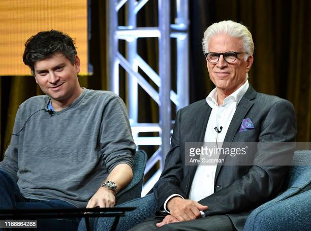 Executive producer Michael Schur and Ted Danson of 'The Good Place' speak during the NBC segment of the 2019 Summer TCA Press Tour at The Beverly...