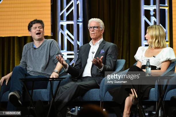 Executive producer Michael Schur Ted Danson and Kristen Bell of 'The Good Place' speak during the NBC segment of the 2019 Summer TCA Press Tour at...