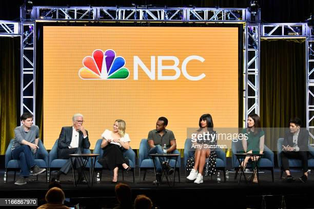 Executive producer Michael Schur Ted Danson Kristen Bell William Jackson Harper Jameela Jamil D'Arcy Carden and Manny Jacinto of 'The Good Place'...