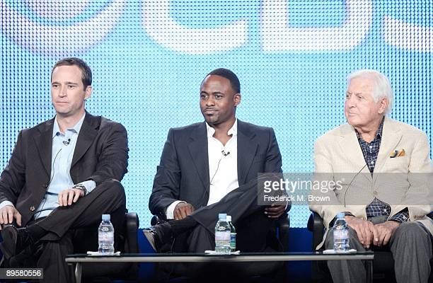 Executive Producer Mike Richards with Host Wayne Brady and Creative Consultant Monty Hall of the television show 'Let's Make a Deal' listen during...