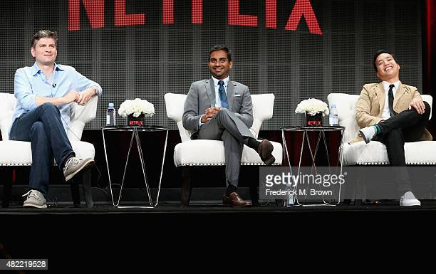 "Executive producer Mike Schur, actor/executive producer Aziz Ansari and executive producer Alan Yang speak onstage during the ""Master of None"" panel..."
