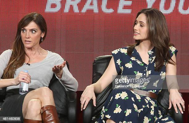 Executive Producer Nancy M. Pimental and actress Emmy Rossum speak onstage during the 'Sexuality and Television: A Female Perspective'' panel as part...