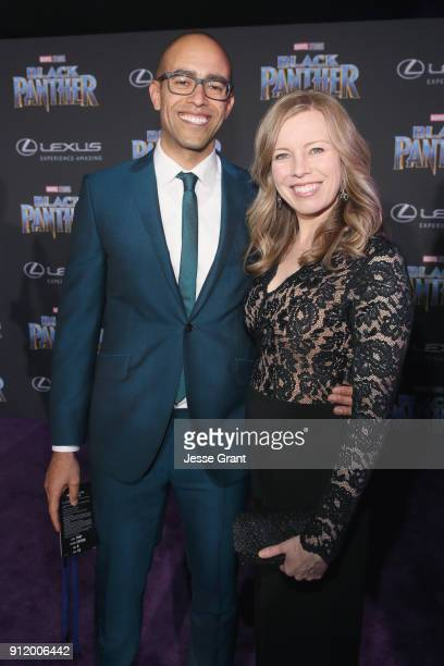 Executive producer Nate Moore and guest at the Los Angeles World Premiere of Marvel Studios' BLACK PANTHER at Dolby Theatre on January 29 2018 in...