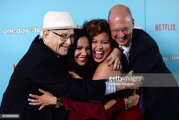 Executive producer Norman Lear showrunner Gloria Calderon Kellett actress Justina Machado and executive producer Mike Royce arrive at the premiere of...