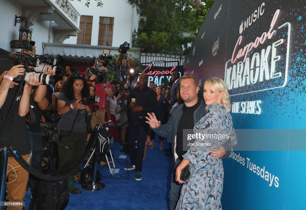 Executive producer of Carpool Karaoke series James Corden (L) and television producer Julia Carey at Apple Music Launch Party Carpool Karaoke: The Series with James Corden on August 7, 2017 in West Hollywood, California.
