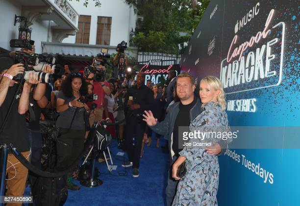 Executive producer of Carpool Karaoke series James Corden and television producer Julia Carey at Apple Music Launch Party Carpool Karaoke The Series...