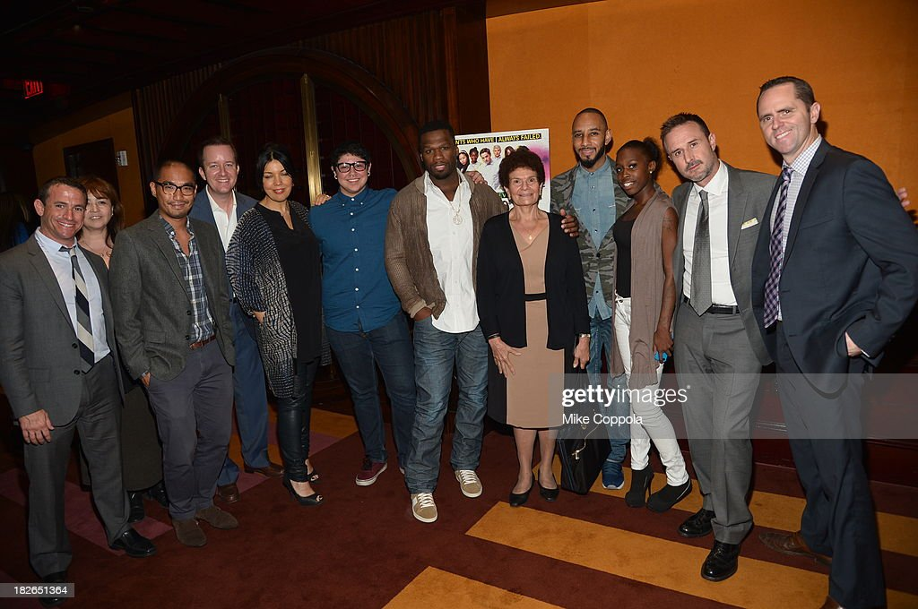 Executive Producer of Dream School Andrew Jameson, Sundance Channel President Sarah Barnett, Dream School Student Alan Delgadillo, Curtis '50 Cent' Jackson, Swizz Beatz, Dream school student Mary Boyd and David Arquette pose for a picture before speaking on a panel on education in anticipation of the upcoming series 'Dream School' on October 1, 2013 in New York City. (Photo by Mike Coppola/Getty Images for Sundance Channel) on October 1, 2013 in New York City.