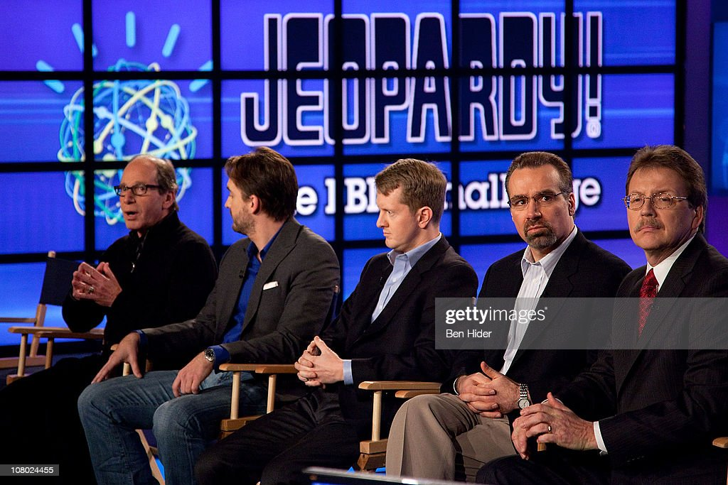 Executive Producer of 'Jeopardy!' Harry Friedman, Contestants Brad Rutter, Ken Jennings, David Ferucci, Principal Investigator of Watson DeepQA technology, IBM Research and Senior Vice President of IBM Research Dr. John E. Kelly III attends a press conference to discuss the upcoming Man V. Machine 'Jeopardy!' competition at the IBM T.J. Watson Research Center on January 13, 2011 in Yorktown Heights, New York.