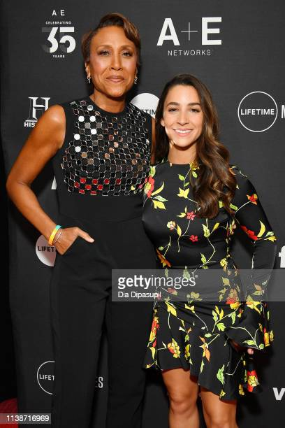 Executive Producer of Lifetime's 'Robin Roberts Presents', Robin Roberts and gymnast Aly Raisman attend the 2019 A+E Networks Upfront at Jazz at...
