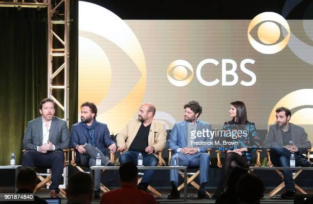Executive producer Patrick Walsh executive producer Johnny Galecki actors Ian Gomez Lindsey Kraft Jay R Ferguson and David Krumholtz of the...