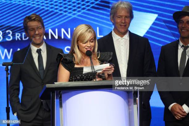 Executive Producer Per Saari actor Reese Witherspoon Creator/EP David E Kelley and Executive Producer Nathan Ross accept the award for 'Outstanding...