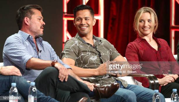 Executive Producer Peter M Lenkov actor Jay Hernandez and actress Perdita Weeks of the television show Magnum PI speak during the CBS segment of the...
