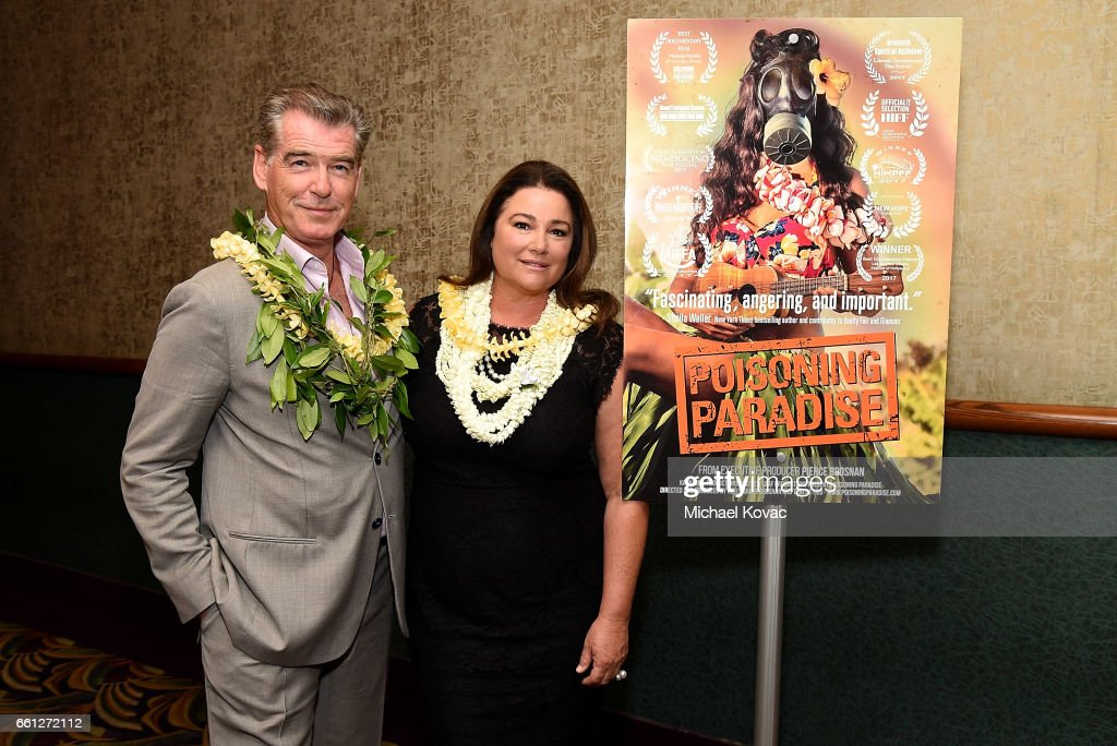 Executive producer Pierce Brosnan (L) and director/producer Keely Shaye Brosnan attend the screening of 'Poisoning Paradise' at the 8th Annual Hawaii European Cinema Film Festival on March 30, 2017 in Honolulu, Hawaii.