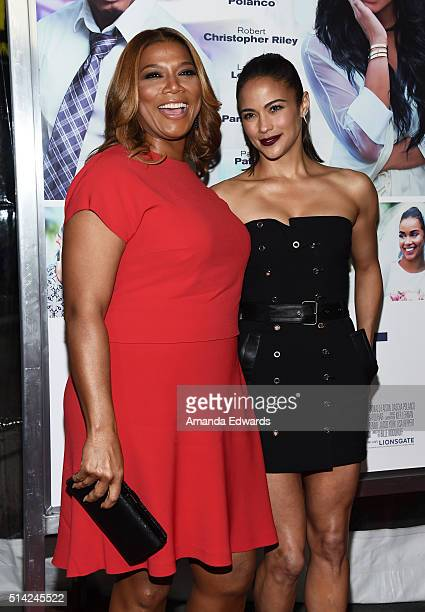 Executive producer Queen Latifah and actress Paula Patton arrive at the premiere of Lionsgate's The Perfect Match at ArcLight Hollywood on March 7...