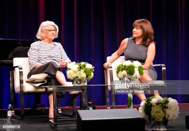Executive producer Rebecca Eaton and creator/writer/executive producer Daisy Goodwin of 'Victoria' speak onstage during the PBS portion of the 2017...