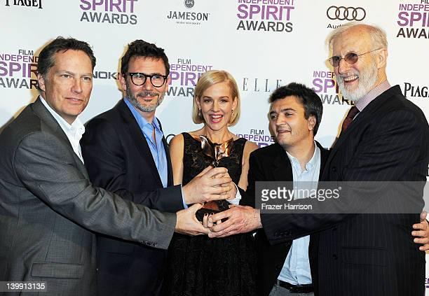 Executive Producer Richard Middleton Director Michel Hazanavicius actress Penelope Ann Miller Producer Thomas Langmann and actor James Cromwell pose...