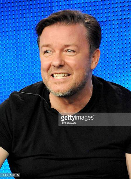 """Executive producer Ricky Gervais of """"The Ricky Gervais Show"""" speaks during the HBO portion of the 2010 Television Critics Association Press Tour at..."""