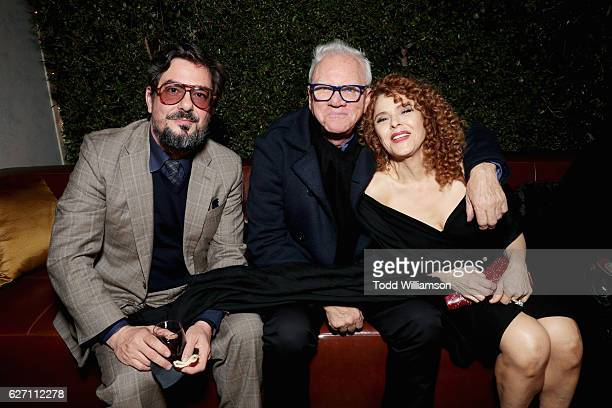 Executive producer Roman Coppola actor Malcolm McDowell and actress Bernadette Peters attend the 'Mozart In the Jungle' red Carpet premiere and...