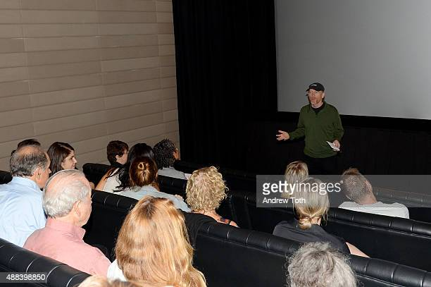 Executive Producer Ron Howard speaks during the private screening and QA for Showtime Documentary Films Prophet's Prey at Bryant Park Hotel on...