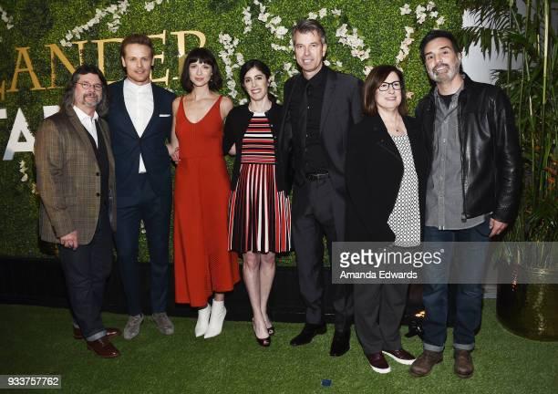 Executive producer Ronald D Moore actors Sam Heughan and Caitriona Balfe executive producer Maril Davis production designer Jon Gary Steele and...
