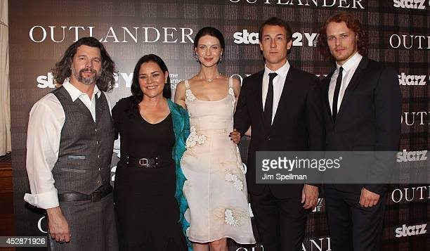 """Executive Producer Ronald Moore, author Diana Gabaldon, actors Caitriona Balfe, Tobias Menzies and Sam Heughan attend the """"Outlander"""" series..."""