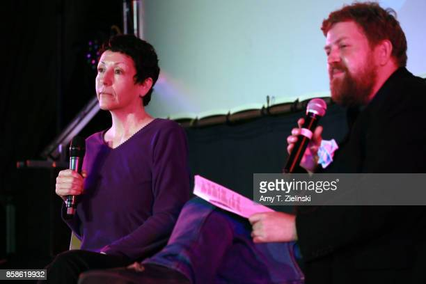Executive producer Sabrina S Sutherland answers questions from fans with author Tom Huddleston of Time Out magazine in London during the Twin Peaks...