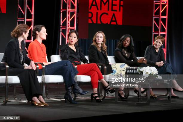 Executive producer Sally Woodward Gentle writer/showrunner/executive producer Phoebe WallerBridge and actors Sandra Oh Jodie Comer Kirby...