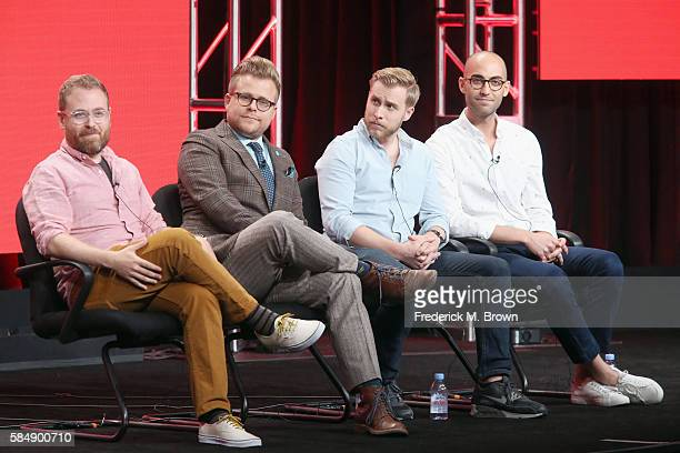 Executive producer Sam Reich creator/host Adam Conover head writer/coexecutive producer Travis Helwig and coexecutive producer Jon Wolf speak onstage...