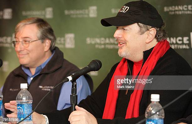 Executive producer Sandy Climan and producer John Modell speak during the U2 3D panel discussion at the Sundance Film Festival on January 20 2008 in...