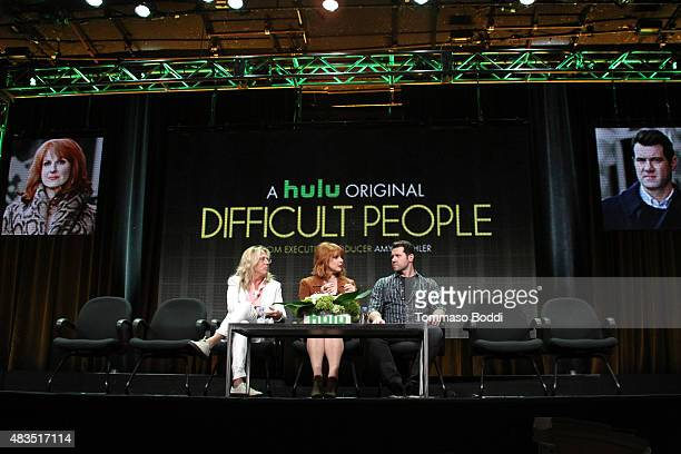 Executive Producer Scott King actress and Executive Producer Julie Klausner and actor Billy Eichner speak onstage during the 'Difficult People' panel...