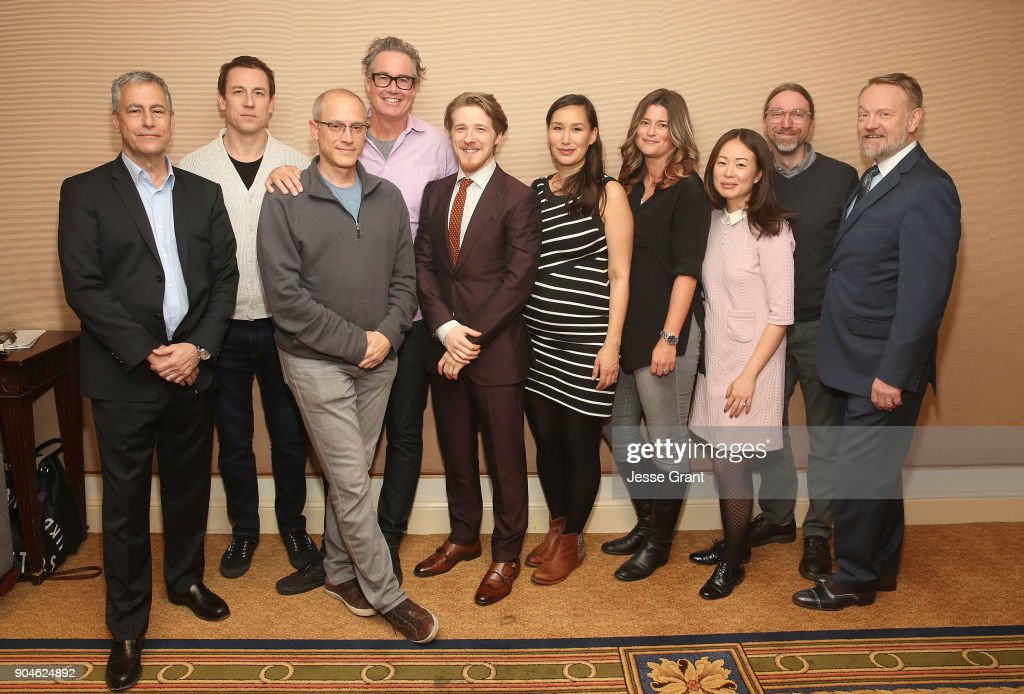 Executive producer Scott Lambert, actor Tobias Menzies, executive producers David W. Zucker and Guymon Casady, actor Adam Nagaitis, actress Nive Nielsen, co-executive producer Jordan Sheehan, executive producer/co-showrunner Soo Hugh, executive producer/co-showrunner David Kajganich and actor Jared Harris of the television show The Terror pose for a photo in the green room during the AMC portion of the 2018 Winter Television Critics Association Press Tour on January 13, 2018 in Pasadena, California.