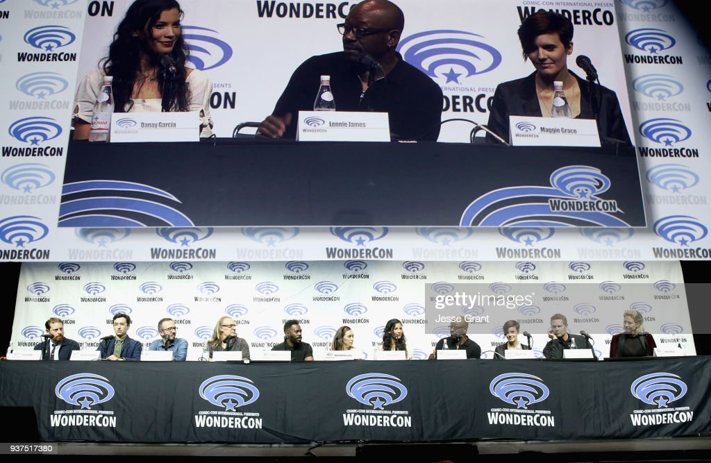 Executive producer Scott M. Gimple, Showrunners Andrew Chambliss, Ian B. Goldberg, Executive producer Greg Nicotero, actors Colman Domingo, Alycia Debnam Carey, Danay Garcia, Lennie James, Maggie Grace, Garret Dillahunt and Jenna Elfman speak onstage during AMC's 'Fear of the Walking Dead' panel at WonderCon at Anaheim Convention Center on March 24, 2018 in Anaheim, California.