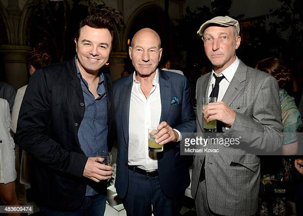 Executive Producer Seth MacFarlane actor Patrick Stewart and writer Jonathan Ames attend the STARZ' Blunt Talk series premiere on August 10 2015 in...