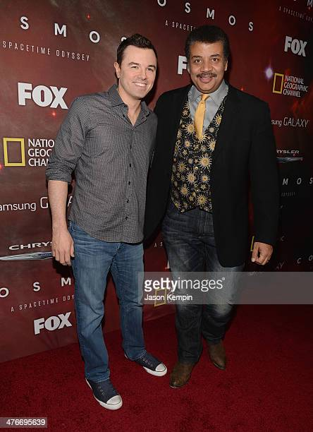 Executive Producer Seth MacFarlane and host Neil deGrasse Tyson attend the premiere of Fox's Cosmos A SpaceTime Odyssey at The Greek Theatre on March...