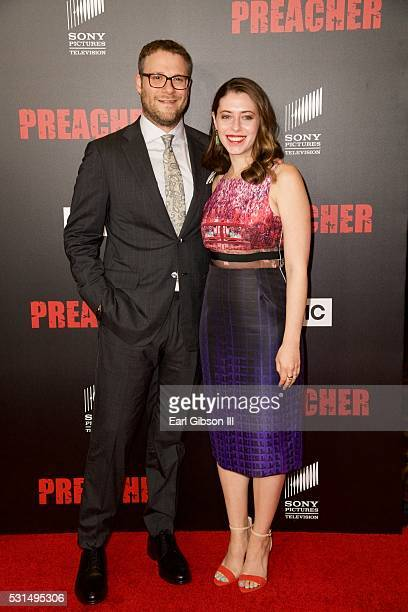 Executive producer Seth Rogen and wife Lauren Miller attend the Los Angeles Premiere of AMC's 'Preacher' at Regal LA Live Stadium 14 on May 14, 2016...