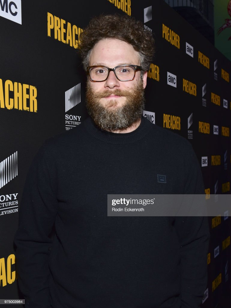 Executive producer Seth Rogen arrives at the premiere of AMC's 'Preacher' Season 3 at The Hearth and Hound on June 14, 2018 in Los Angeles, California.