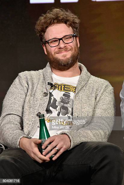 Executive producer Seth Rogen speaks onstage during the AMC Winter TCA Press Tour 2016 'Preacher' panel at The Langham Huntington Hotel and Spa on...