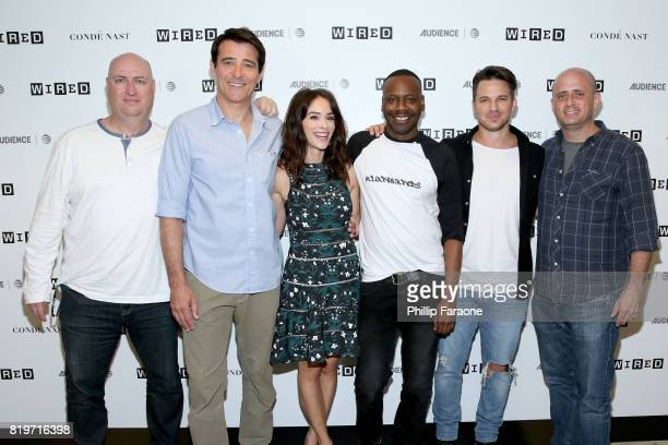 Executive producer Shawn Ryan actors Abigail Spencer Malcolm Barrett Goran Visnjic Matt Lanter and executive producer Eric Kripke of 'Timeless' at...