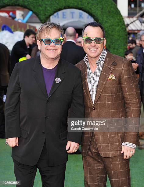 Executive Producer Sir Elton John and Producer David Furnish attend the UK Film Premiere of 'Gnomeo And Juliet' at the Odeon Leicester Square on...