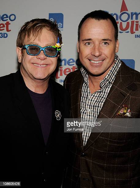 Executive producer Sir Elton John and producer David Furnish attend the 'Gnomeo Juliet' premiere at Odeon Leicester Square on January 30 2011 in...