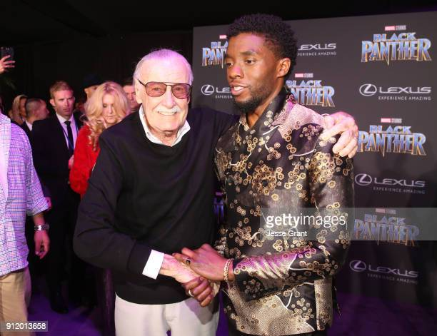 Executive producer Stan Lee and actor Chadwick Boseman at the Los Angeles World Premiere of Marvel Studios' BLACK PANTHER at Dolby Theatre on January...