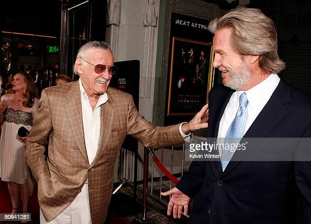 "Executive producer Stan Lee and actor Jeff Bridges arrive at the premiere of Paramount's ""Iron Man"" held at Grauman's Chinese Theatre on April 30,..."
