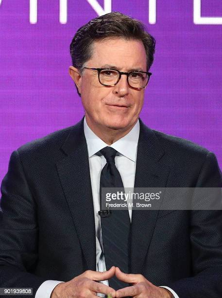Executive producer Stephen Colbert of the television show Our Cartoon President speaks onstage during the CBS/Showtime portion of the 2018 Winter...