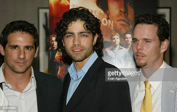 Executive producer Stephen Levinson actor Adrian Grenier and actor Kevin Dillon attend the premiere screening of HBO's new series Entourage at the...
