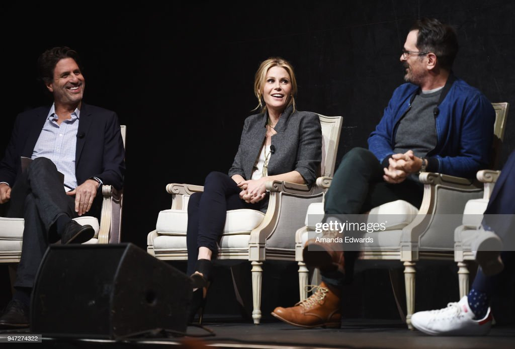 Executive producer Steven Levitan and actors Julie Bowen and Ty Burrell attend the FYC Event for ABC's 'Modern Family' at Avalon on April 16, 2018 in Hollywood, California.