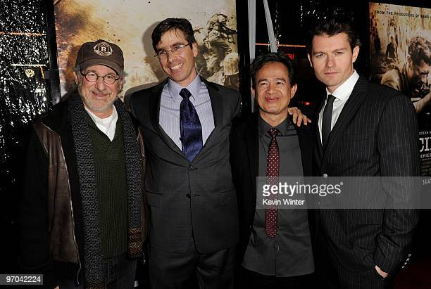 Executive producer Steven Spielberg coexecutive producer/writer Bruce McKenna coexecutive producer/director Tony To and actor James Badge Dale arrive...