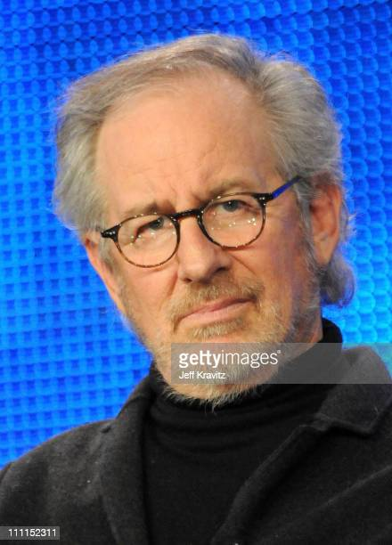 """Executive producer Steven Spielberg of """"The Pacific"""" speaks during the HBO portion of the 2010 Television Critics Association Press Tour at the..."""